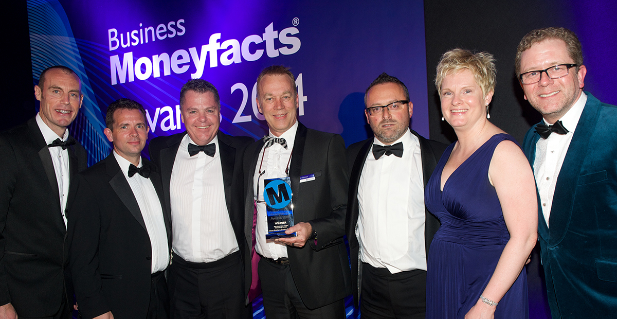 Close Brothers team winning Business Moneyfacts Awards 2014