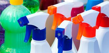 Colourful cleaning products